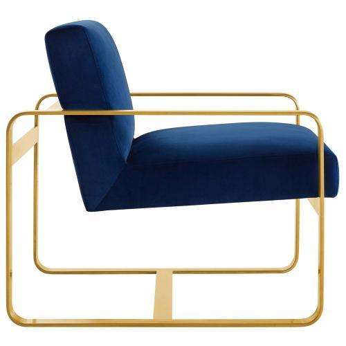 Astute Performance Velvet Armchair in Navy