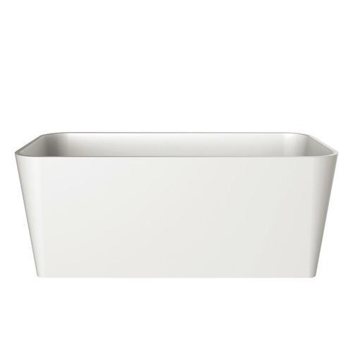 Edge 59 Inch X 31-1/2 Inch Freestanding Soaking Bathtub in Volcanic Limestone™ with No Overflow Hole - Gloss White