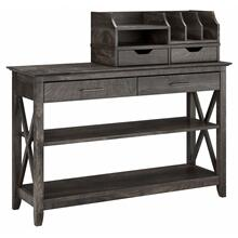 Key West Console Table with Storage and Desktop Organizers - Dark Gray Hickory