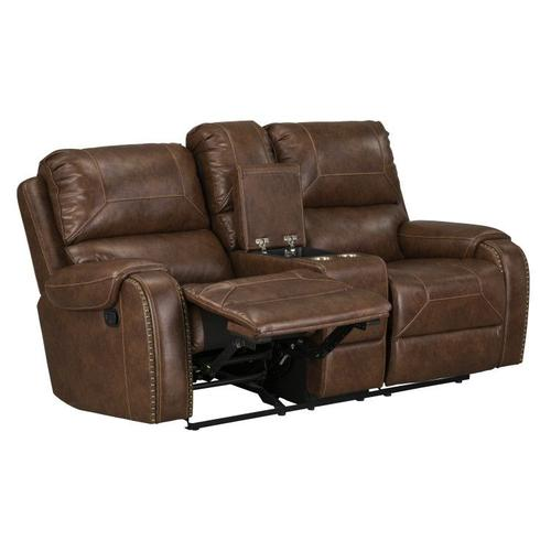 Winslow Manual Motion Glider Recliner Loveseat with Power Strip, Brown