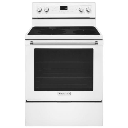 KitchenAid - 30-Inch 5-Element Electric Convection Range - White