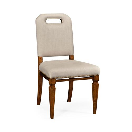 Contemporary dining side chair, upholstered in Mazo