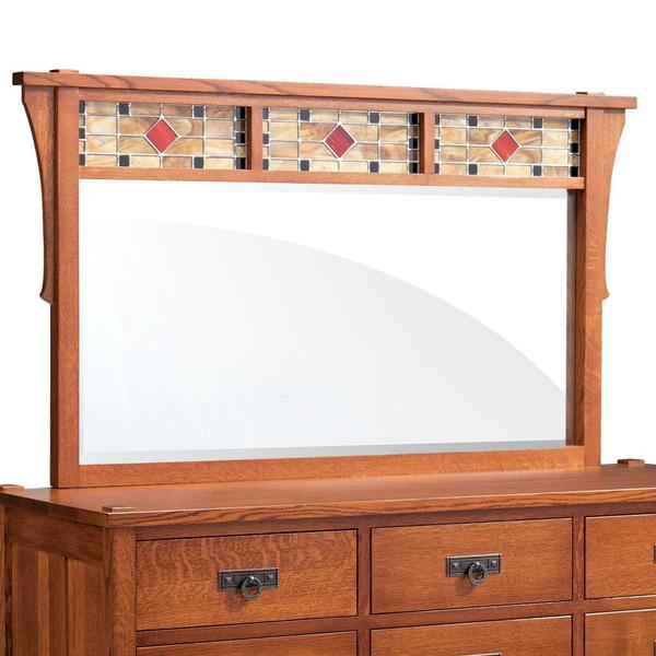 See Details - Grant Bureau Mirror with Stained Glass, 66'w x 32'h
