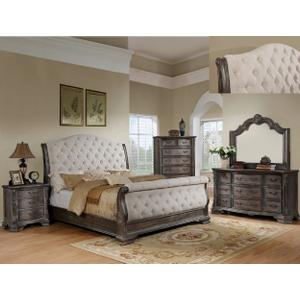 B1120 Sheffield Grey Sleigh King Bedroom