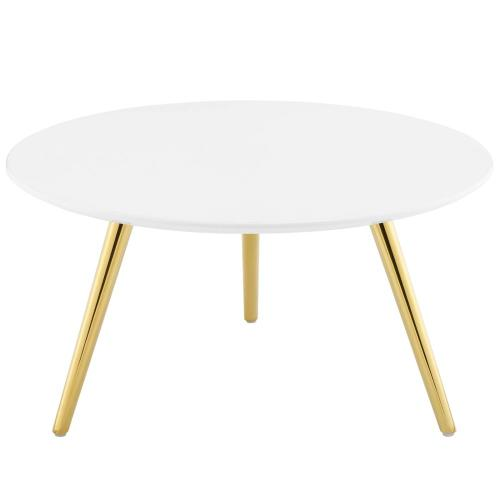 """Lippa 28"""" Round Wood Top Coffee Table with Tripod Base in Gold White"""