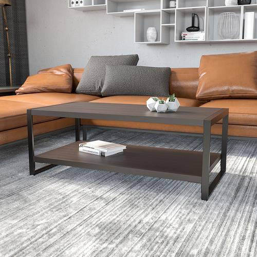 Flash Furniture - Thompson Collection Charcoal Wood Grain Finish Coffee Table with Black Metal Frame