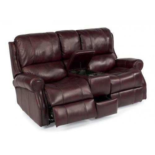 Product Image - Miles Leather Power Reclining Loveseat with Console