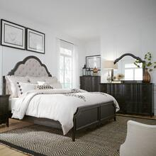 King Uph Bed, Dresser & Mirror, Chest