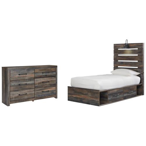 Product Image - Twin Panel Bed With 4 Storage Drawers With Dresser