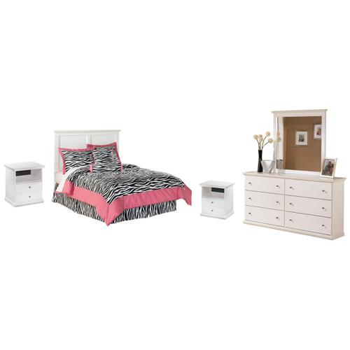 Product Image - Full Panel Headboard With Mirrored Dresser and 2 Nightstands