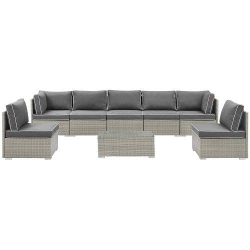 Repose 8 Piece Outdoor Patio Sectional Set in Light Gray Charcoal