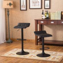 See Details - Belham Swivel Black Bonded Leather Adjustable Bar Stool, Set of 2