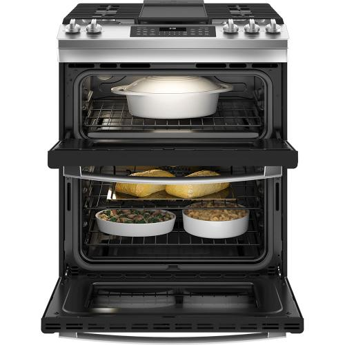 """Gallery - GE® 30"""" Slide-In Front Control Gas Double Oven Range Stainless Steel - JCGSS86SPSS"""