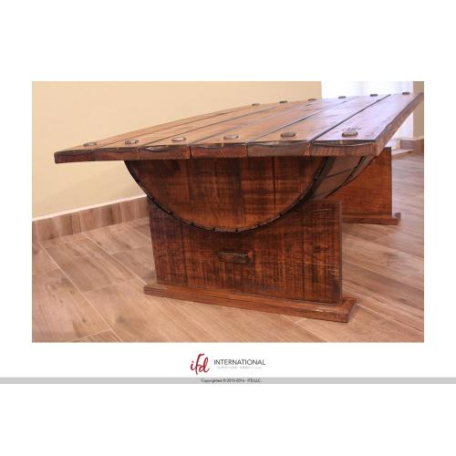 Cocktail Table w/wood Barrel shape