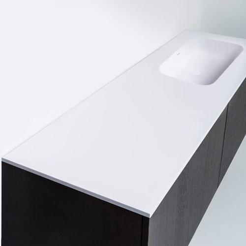 """series 1400 blustone™ vanity top with right offset basin, 4"""" thick, White gloss 55 1/4"""" x 20 1/4"""""""