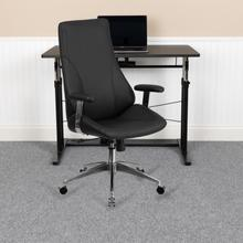 View Product - High Back Black LeatherSoft Smooth Upholstered Executive Swivel Office Chair with Arms