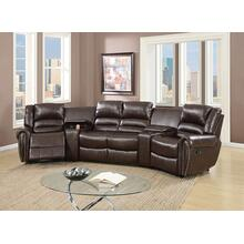 Tasi 5pc Reclining/Motion Home Theater Sofa Set, Brown Bonded Leather
