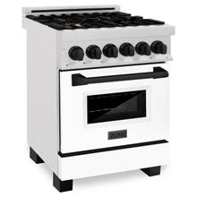 """See Details - ZLINE Autograph Edition 24"""" 2.8 cu. ft. Dual Fuel Range with Gas Stove and Electric Oven in DuraSnow® Stainless Steel with White Matte Door and Accents (RASZ-WM-24) [Color: Matte Black]"""
