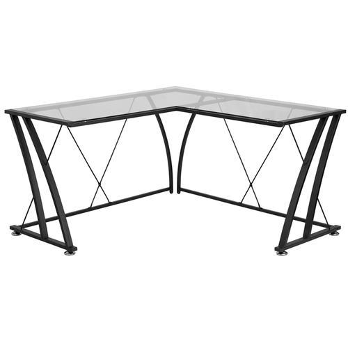 Flash Furniture - Glass L-Shape Computer Desk with Black Metal Frame