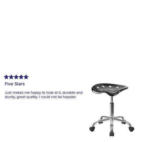 Flash Furniture - Vibrant Black Tractor Seat and Chrome Stool