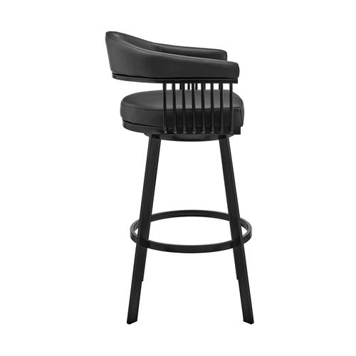 """Armen Living - Chelsea 30"""" Bar Height Swivel Bar Stool in Black Finish and Black Faux Leather"""