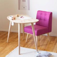 Sweedi - Solid Wood Kids Table with Upholstered Chair Set, Natural and Pink