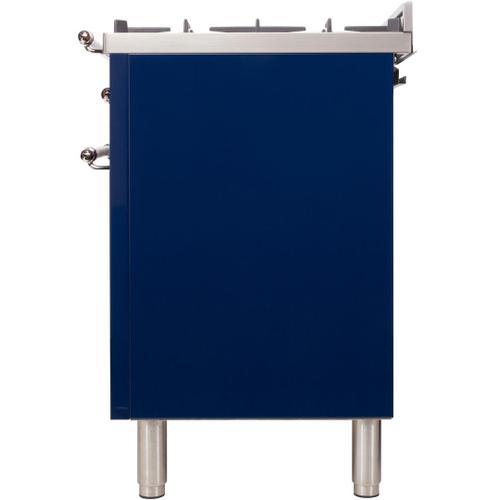Nostalgie 48 Inch Dual Fuel Liquid Propane Freestanding Range in Blue with Chrome Trim