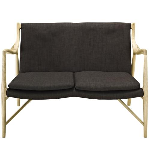 Modway - Makeshift Upholstered Fabric Loveseat in Natural Brown