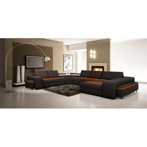 Divani Casa 5030 Modern Black and Orange Bonded Leather Sectional Sofa