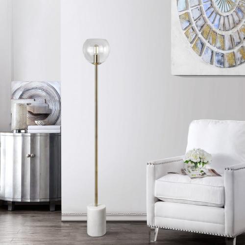 Bradley Floor Lamp - White / Brass Gold