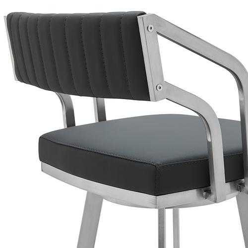 """Capri 30"""" Bar Height Swivel Barstool with Brushed Stainless Steel Finish and Slate Grey Faux Leather"""