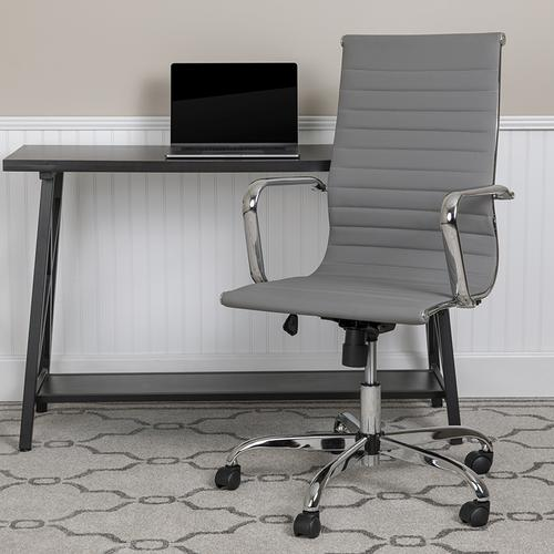 High Back Light Gray LeatherSoft Mid-Century Modern Ribbed Swivel Office Chair with Spring-Tilt Control and Arms