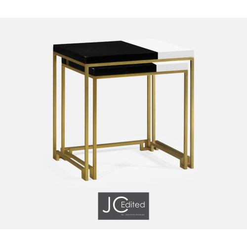 Gilded Iron Nesting Table with Smoky Black and Biancaneve Top