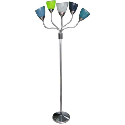 5-lite Floor Lamp, C W/blu/grn/red/wht/ylw Shade, A 40wx5