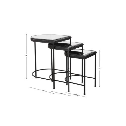 India Nesting Tables, Black, S/3