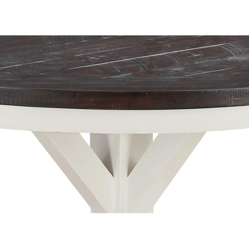 """Emerald Home Mountain Retreat 54"""" Round Dining Table-top Dk Brown-base Antique White D601-14-09"""