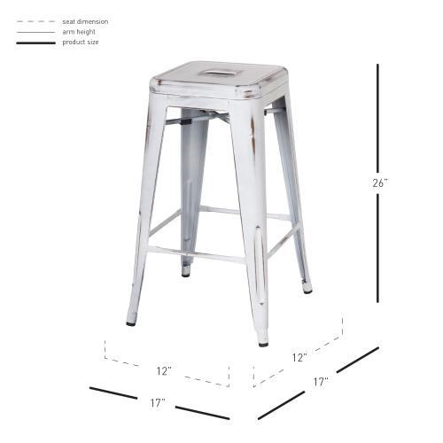 Metropolis Metal Backless Counter Stool, Distressed White