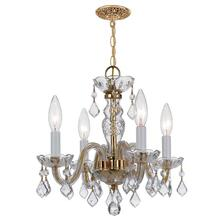 Traditional Crystal 4 Light Cl ear Swarovski Strass Crystal B rass Mini Chandelier