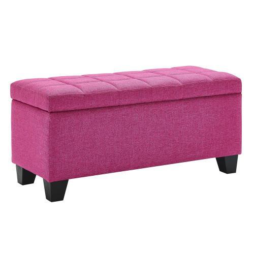 Lila Rectangular Storage Ottoman in Pink