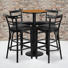 24'' Round Natural Laminate Table Set with Round Base and 4 Two-Slat Ladder Back Metal Barstools - Black Vinyl Seat