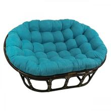 Bali Rattan Mamasan Double Papasan Chair with Microsuede Plush Cushionss - Walnut/Aqua Blue
