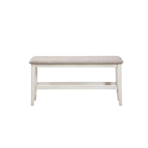 Buchanan Gathering Height Upholstered Bench, Whitewash 1147-cpb317-ben