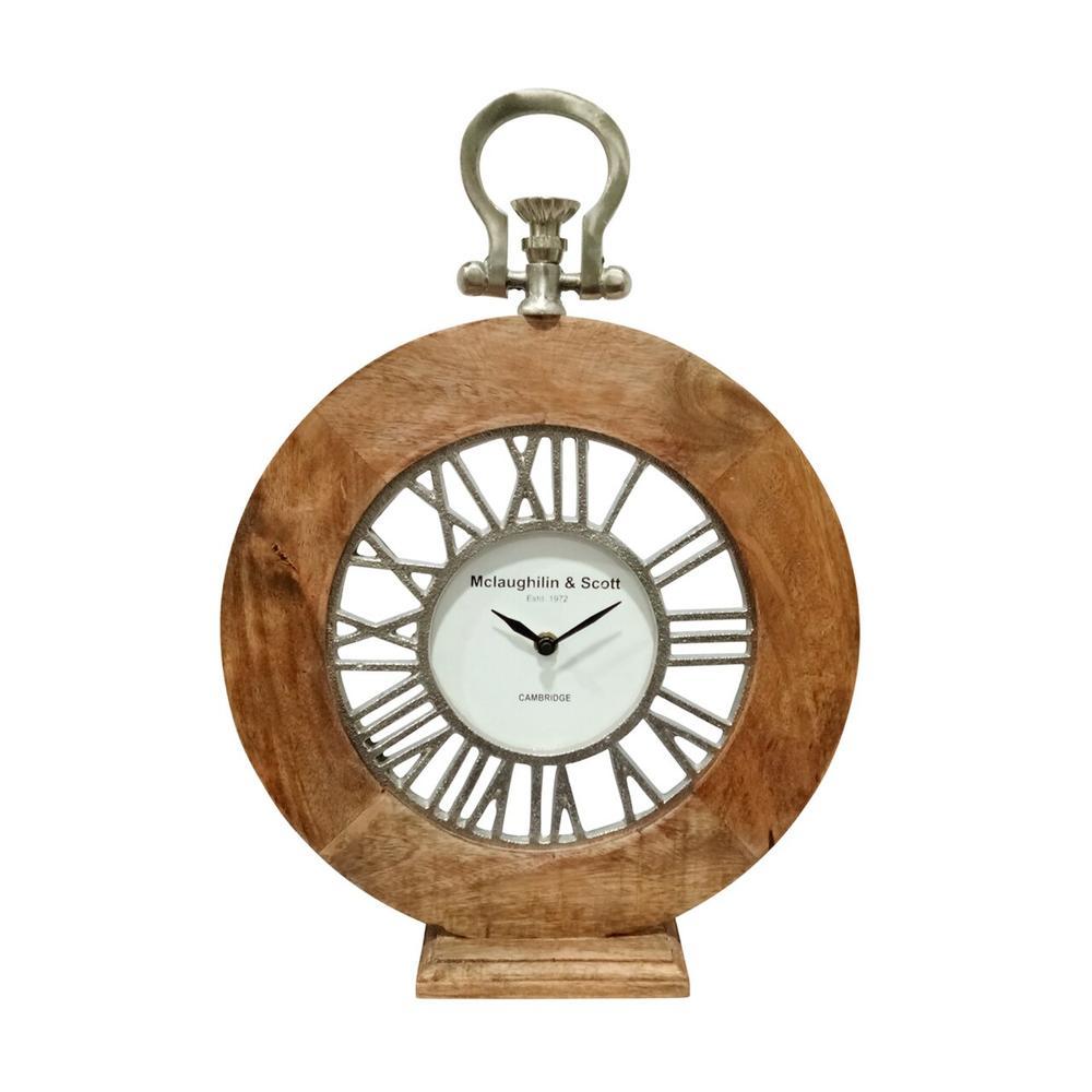 "Mango Wood, 16""h Round Table Clock, Natural"