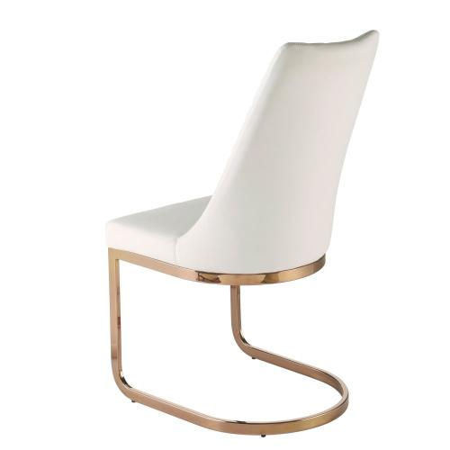 Kyla KD PU Dining Side Chair Rose Gold Legs, White