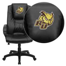 Rowan University Owls Embroidered Black Leather Executive Office Chair