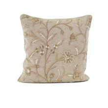 Beige Pillow with Crewel Embroidery