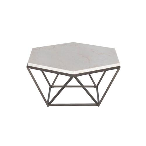 Corvus White Marble Top HexagonCocktail Table