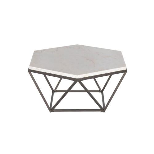 Gallery - Corvus White Marble Top HexagonCocktail Table
