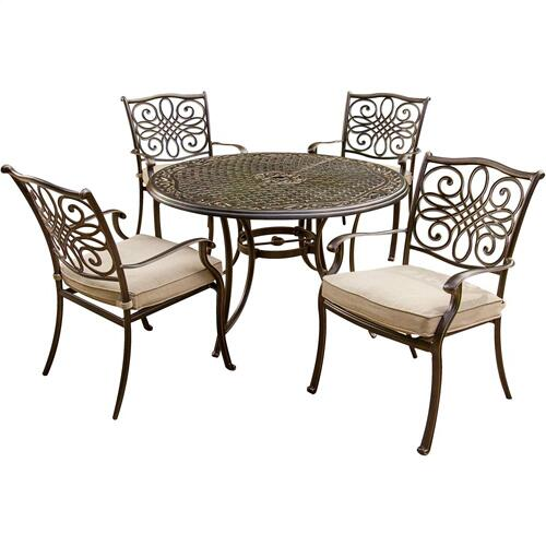 Hanover Traditions 5 Pc. Dining Set of 4 Aluminum Cast Dining Chairs and a 48 in. Round Table, TRADITIONS5PC