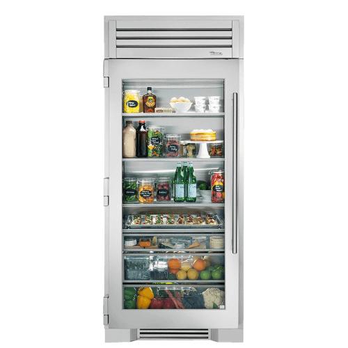 36 Inch Stainless Glass Door Left Hinge Refrigerator Column